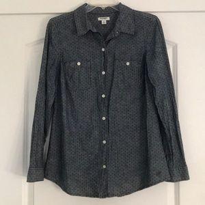 Old Navy Swiss Dot Denim Button Down Shirt, size M